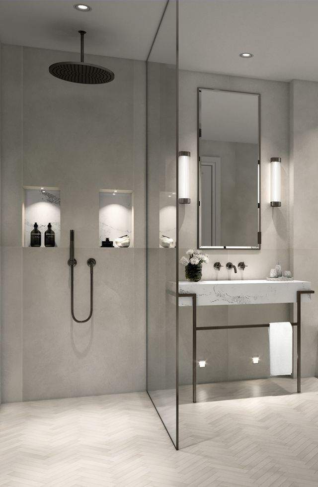 Modernes, minimalistisches Badezimmer mit ebenerdiger Dusche