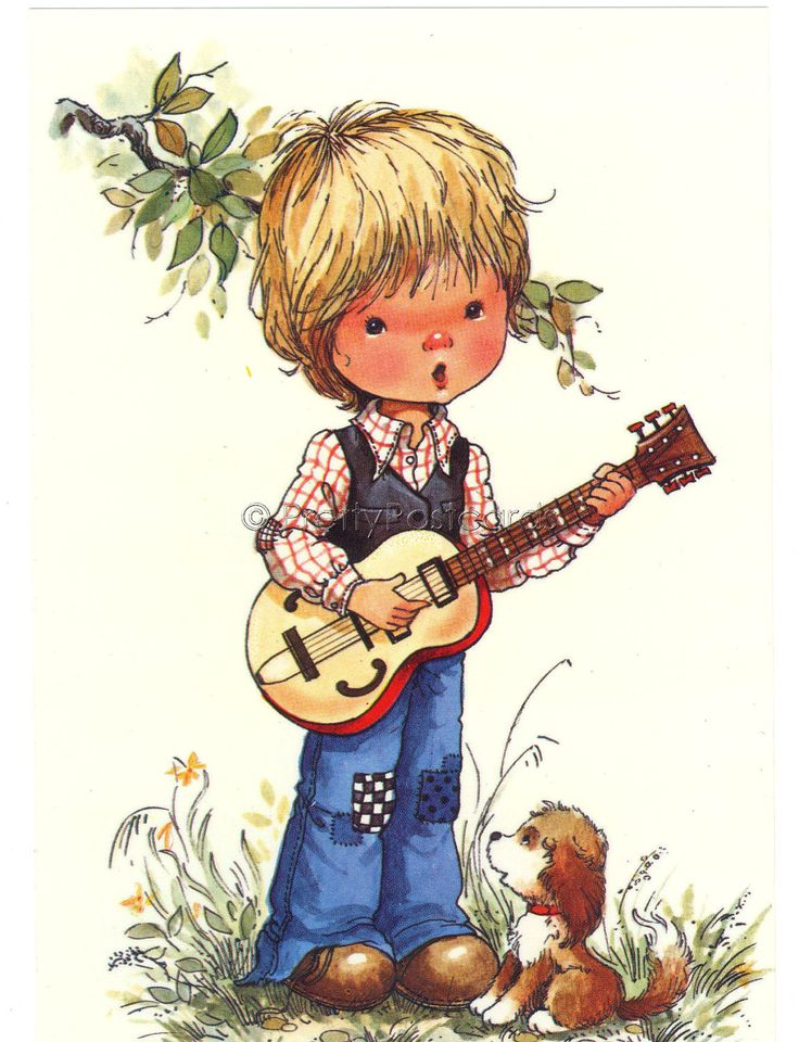 Vintage postcard of a little Boy playing his Guitar - Sarah Kay style. $4.25, via Etsy.