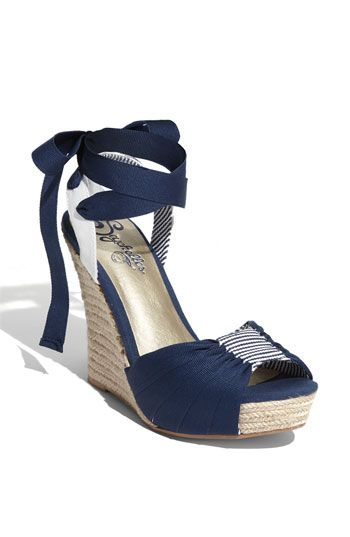 "Seychelles ""Arden"" Sandal in navy. Super cute with a sundress!"