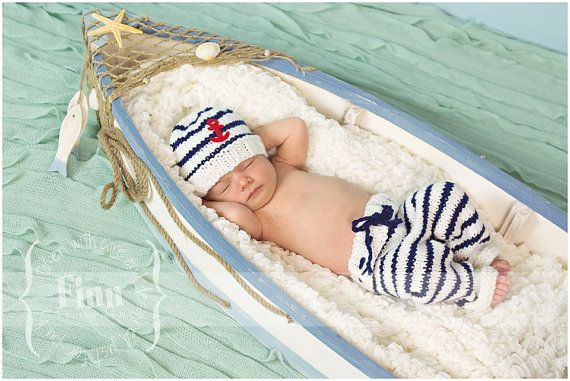 Sailor Set, Nautical Newborn Knit Pants Hat Set, SALE, Baby Knitted Anchor Cap, Infant Photo Prop, Longies, Navy Blue and White Stripes