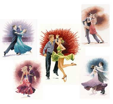 DWTS/SCD Viennese Waltz, Tango, Jive, Paso Doble & Amrican Smooth inspired cross stitch art by John Clayton