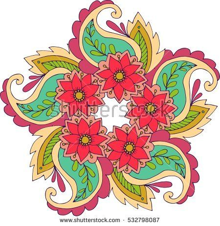 Round Ornament Pattern / Vector Beautiful Deco Colored Mandala / Patterned Design Element / Ethnic Amulet