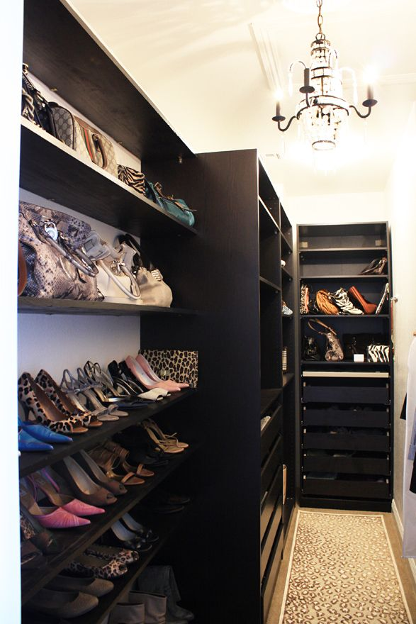 Made by Girl blogger's master closet using an IKEA closet system #chandelier #closet #dressing_room #IKEA #leopard #organization