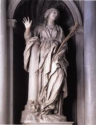 """Santa Bibiana,   about which the artist """"used to claim that 'it was not he who had created the statue, but the saint herself who had sculpted and impressed her features in the marble'."""""""
