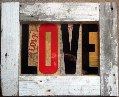 Love Sign  Created by Brenda Buckingham of  Past Blessings Farm  . . . made from old marquee plastic letters, scrapbook paper and weathered picket fencing. ♥  www.pastblessings.blogspot.com