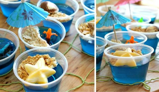 Under the sea party treats blue jello, with cool whip topped with crushed graham crackers to make a beach! SO CUTE
