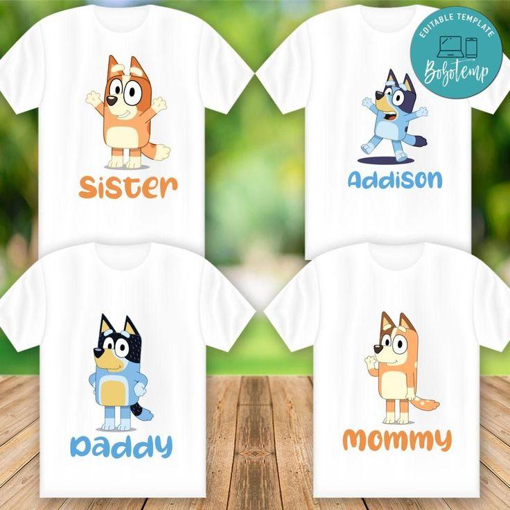 Printable Bluey Family Matching Shirt Digital File DIY in