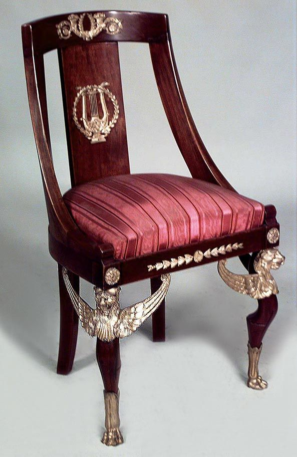 French Empire seating chair/side chair mahogany