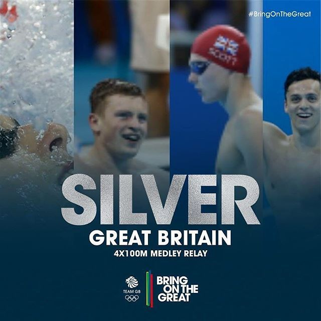 #Silver! Adam Peaty, Duncan Scott, James Guy and Chris Walker-Hebborn close out the #swimming at #Rio2016 in style taking silver in the 4x100m Medley Relay. Great swim! #BringOnTheGreat