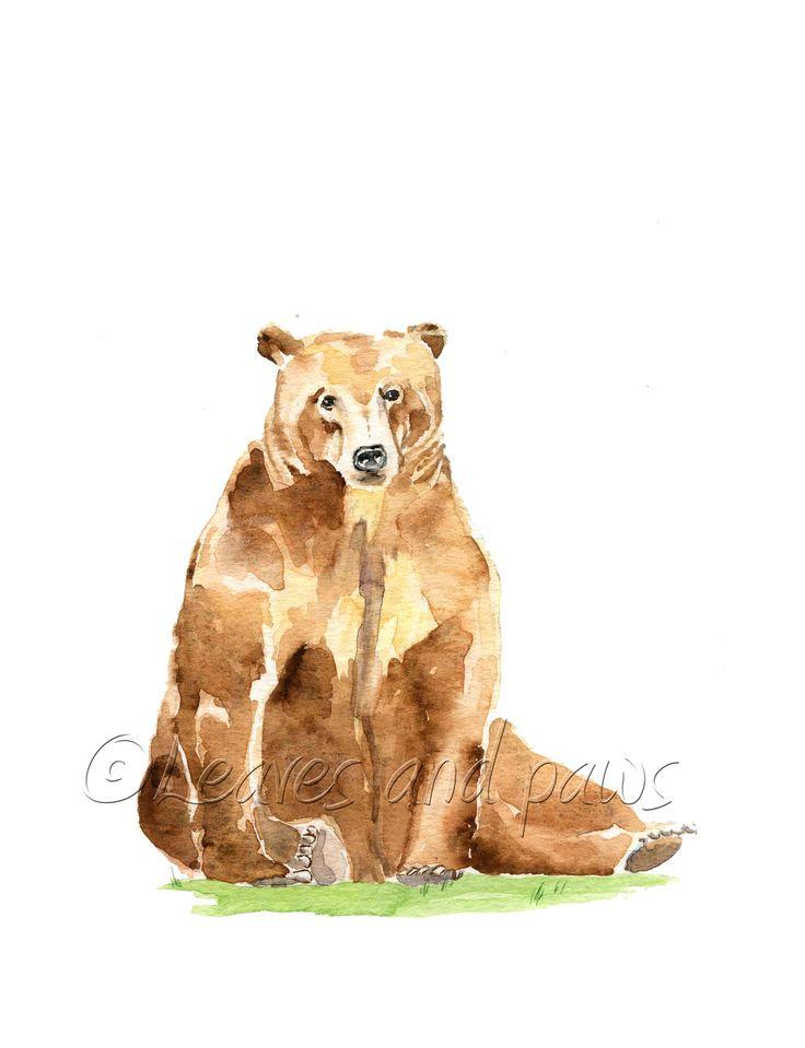 Bear digital, animal printable, woodland nursery print, wildlife painting, watercolor bear, forest artwork, for kids room, nature art