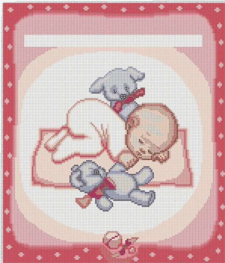 Hobby lavori femminili - ricamo - uncinetto - maglia: neonata con i peluche
