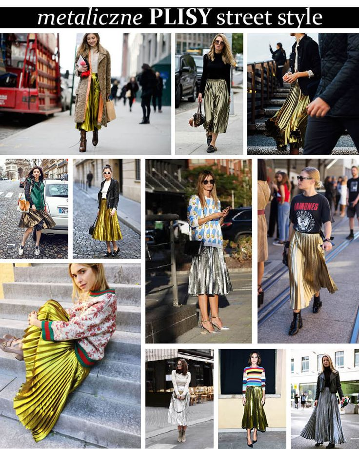 Metaliczne spódnice plisowane - pleated metallic skirt streetstyle #gucciskirt