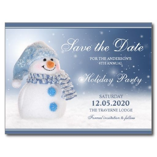 Snowman Holiday Party Save The Date Postcard