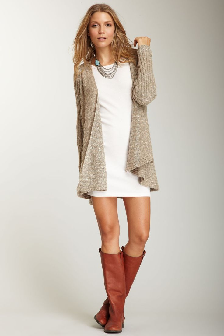 boots, short dress and long cardigan