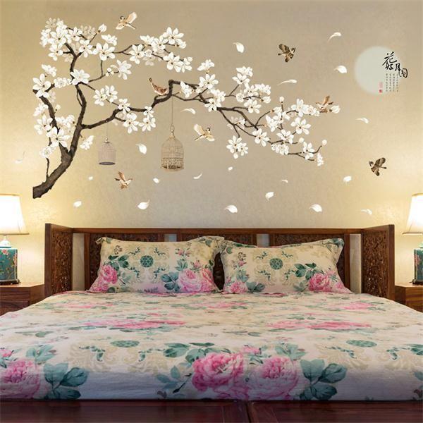 3d White Peach Birdcage Wall Stickers Home Decor Wardrobe Bedroom Deco Bird Land Vinyl Room Wall Stickers Home Decor Rooms Home Decor