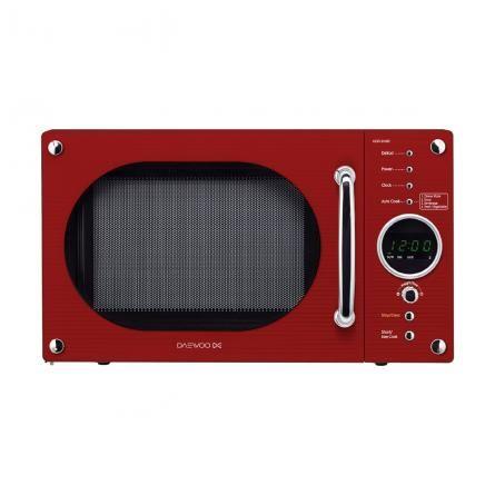 Daewoo microwave in striking red.