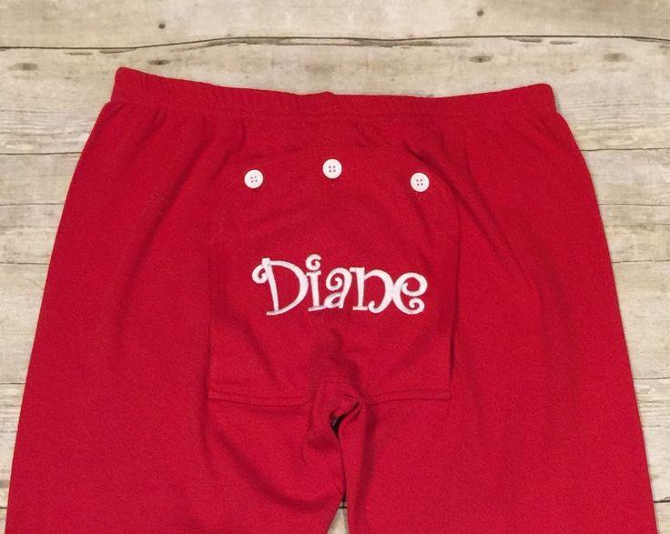 Personalized Pajama Bottoms, Adult Pajama Bottoms, Cute Pajama Bottoms, Red and Green Pajama Bottoms, Flap Back Pajama Bottoms by StyleCircle on Etsy