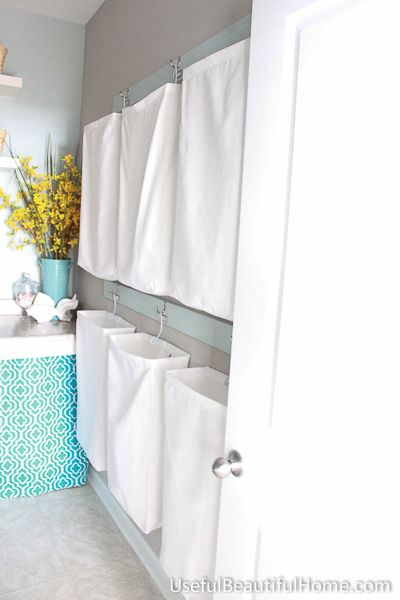 Hanging laundry bags for the laundry room utilize your vertical space