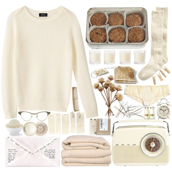 """ivory mornings"" by bluevelvetmoon on Polyvore Cream <3 socks sweaters panties cozy"