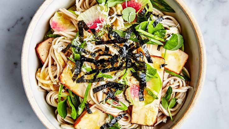 cold soba salad with tofu and miso mustard dressing