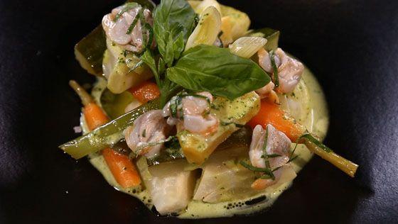 - Légumes à la grecque- Émulsion au basilic- Réalisation