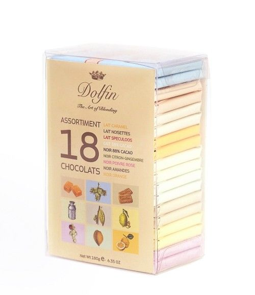 Dolfin 180g. Cofret 18 tablete de ciocolata asortata
