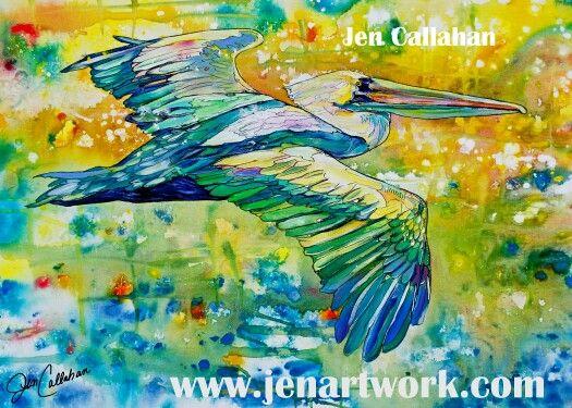 """Naple Pelican"" by Jen Callahan commision work prints available www.jenartwork.com"