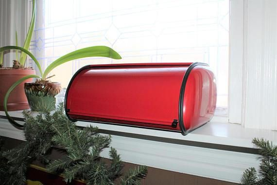 Vintage 1950's Mid Century Modern bread box featuring red