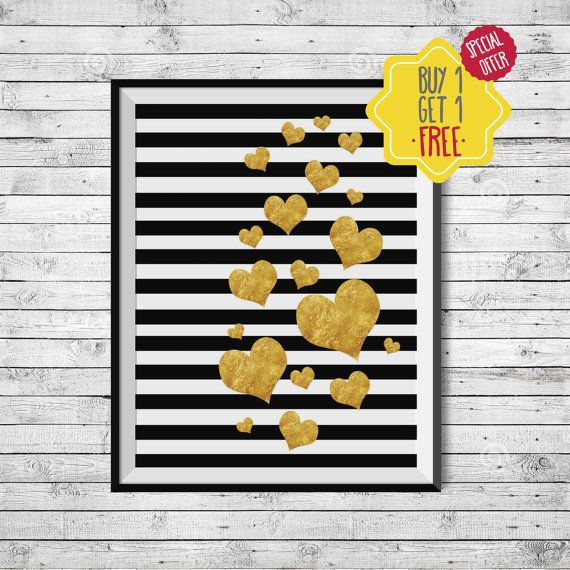 Golden heart poster, Gold foil black, Printable gold wall art, Hearts of gold, Black white stripes, Minimal golden decor, Printable hearts  Do you want a PRINTED DESIGN that is SHIPPED to you? Visit this link: https://www.etsy.com/listing/259685998/made-to-ship-poster-professional-print?ref=shop_home_active_1  This listing is for an INSTANT DOWNLOAD of 2 JPEG files of this artwork. Just purchase the listing and your print is ready to download instantly. Why not p...
