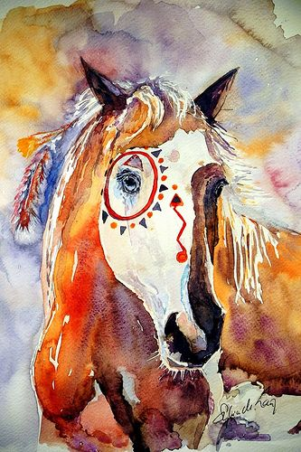 Magic Indian Horse -  My own watercolor painting - with best wishes for a Happy New Year!  www.sylvialang-art.de