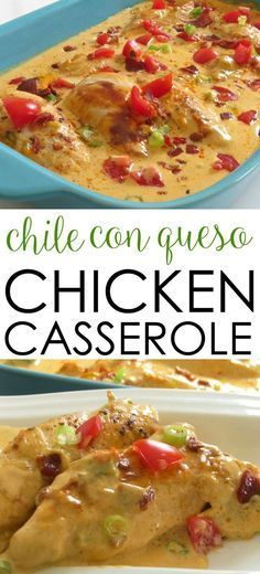 This easy chicken casserole recipe is a crowd-pleasing favorite! It's filled with Tex Mex flavors and covered in cheese. Chile Con Queso Chicken Casserole Easy Chicken Recipe (Mexican Recipes Queso)