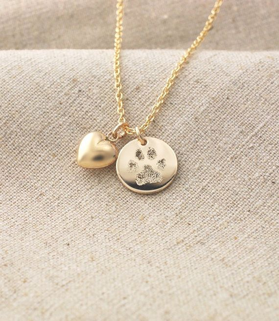 Your pet's actual paw print custom personalized pendant and puffed heart charm necklace in 14k yellow gold fill • Pet memorial jewelry