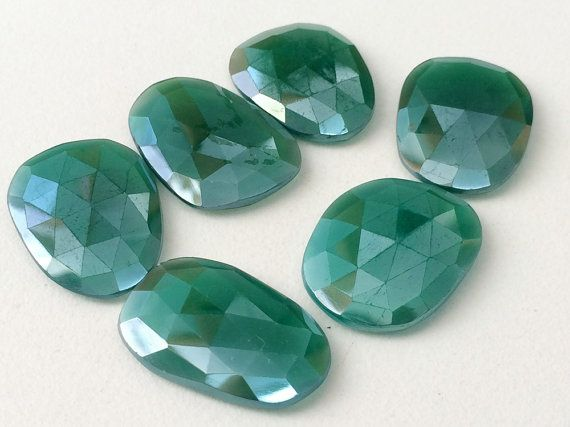 WHOLESALE 10 Pcs Green Onyx Coated Rose Cut by gemsforjewels