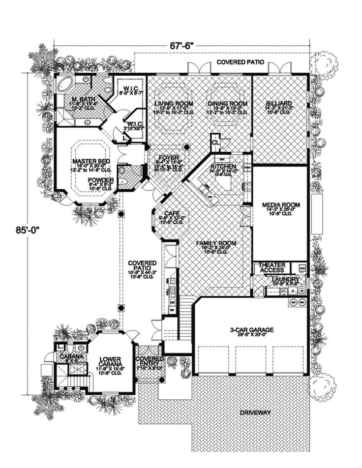 225 best images about home plans on pinterest wings for 3 bedroom caribbean house plans