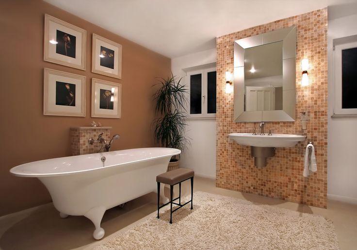 Badezimmer Badideen Fliesen Freistehende Badewanne Spiegel