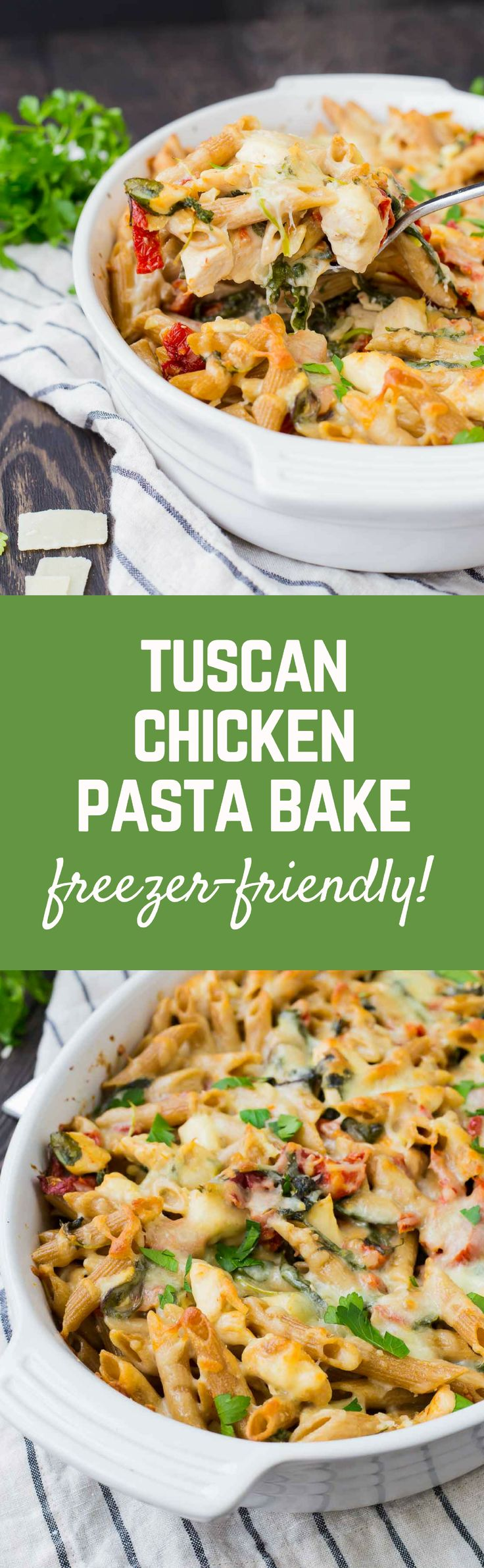 Creamy, flavorful, and healthy, this Chicken Tuscan Pasta Bake is perfect to eat right away or to prep ahead and freezer for another day. Great for sharing with people in need of a meal, too! Get the recipe on RachelCooks.com!