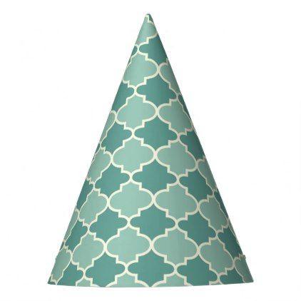 #trendy - #Trendy Blue Moroccan Quatrefoil Pattern Party Hats