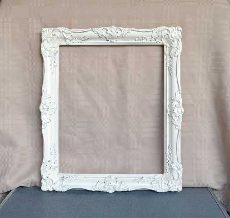 Large Ornate Heirloom White Frame Photography Prop Photo