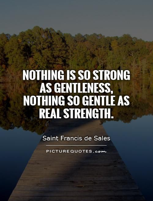 "Quote of the Day – June 19 #pinterest ""There is nothing so strong as gentleness and there is nothing so gentle as real strength."" ~~~~~ St Francis de Sales ~~~~~"