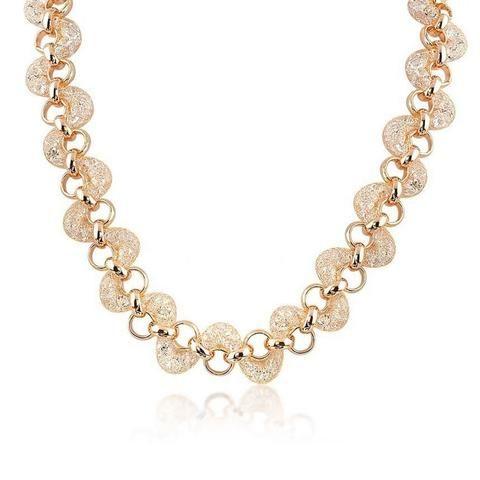 Teigan Crystal Filled Mesh Gold Necklace