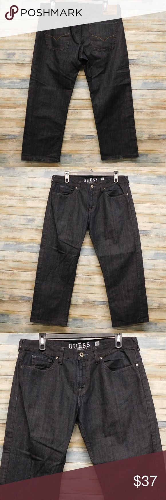"""Guess Jean Men Rebel Low rise Straight Fit  38x28 Guess Jean Men Rebel Low rise Straight Fit  38 x 28       (A-60) color: dark blue raw size 38 x  28"""" inseam   actual waist measures 40"""" RISE 11"""" LEG OPENING LAYING FLAT 9.5""""  Hemmed to 28"""" inseam 100% cotton   Light Fray Hem IN VERY GOOD CONDITION Guess Jeans Straight"""