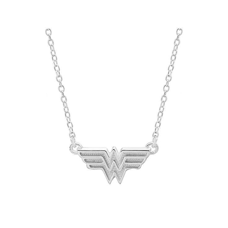 "DC Comics Sterling Silver Wonder Woman Necklace, Size: 18"", Grey"