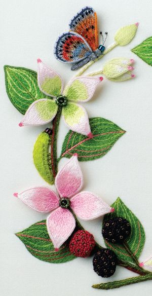 Jane Nicholas stumpwork embroidery (Dogwood, Green Lacewing and butterfly)