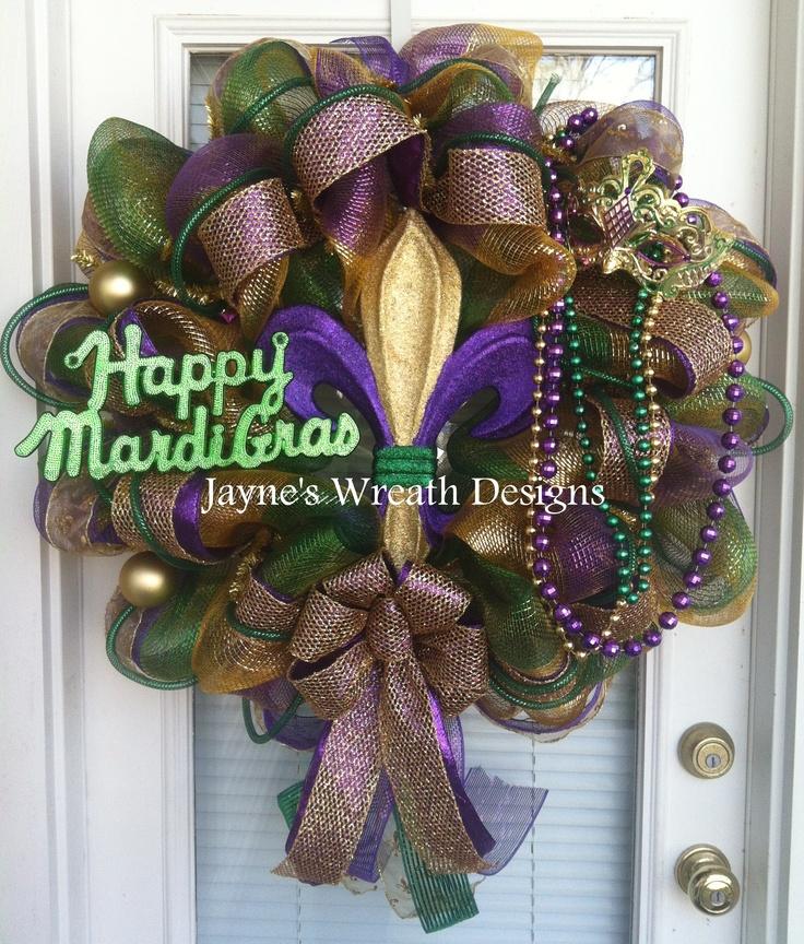 Fleur de lis Mardi Gras wreath