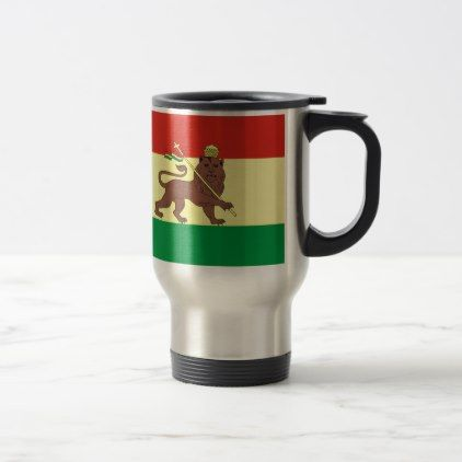 #Old Ethiopian Flag with Lion of Judah Travel Mug - #office #gifts #giftideas #business