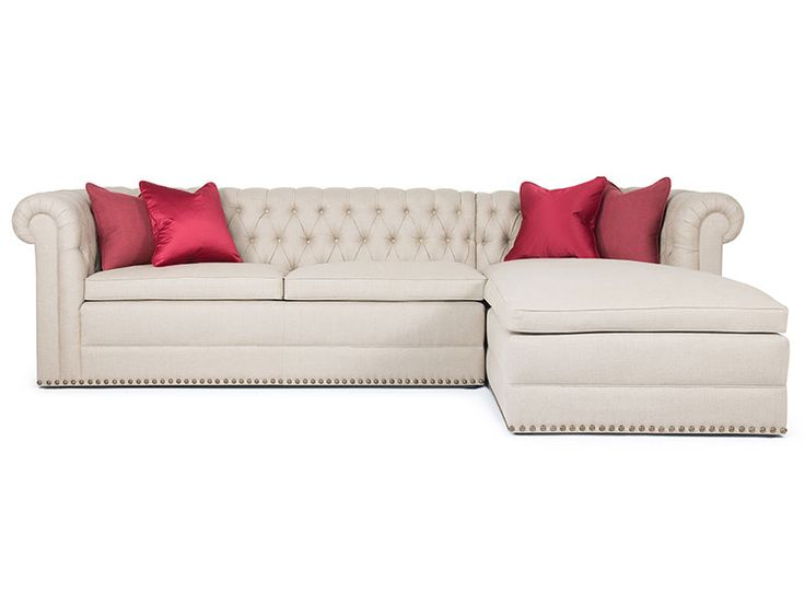 Inspired by the classic Chesterfield, the Barrymore Dakota tufted Sectional has great dramatic style.  Deep hand-tufting, pleated rolled arms, custom Eton legs and gracious length add to its sophistication and comfort.
