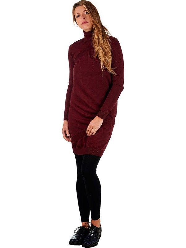 Turtleneck burgundy merino wool dress for women Mariani Made in Italy