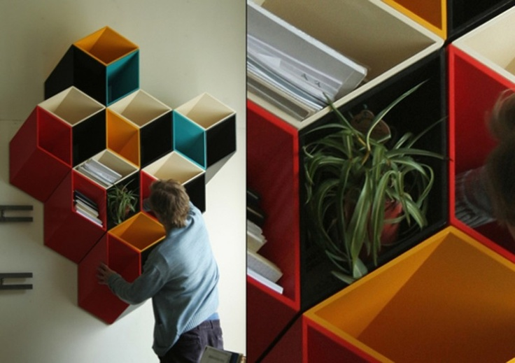 Cube shelves that become a work of art