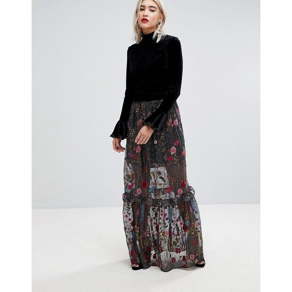 Lost Ink Statement Maxi Skirt In Premium Embroidered Lace featuring polyvore, women's fashion, clothing, skirts, black, mini skirt, floral print maxi skirt, patterned maxi skirt, long floral skirts and ruffle maxi skirt