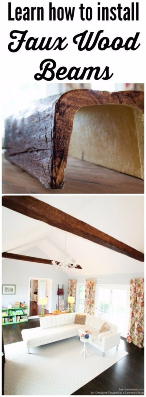 Home Improvement Hacks. - Install Faux Wood Beams - Remodeling Ideas and DIY Home Improvement Made Easy With the Clever, Easy Renovation Ideas. Kitchen, Bathroom, Garage. Walls, Floors, Baseboards,Tile, Ceilings, Wood and Trim. http://diyjoy.com/home-improvement-hacks